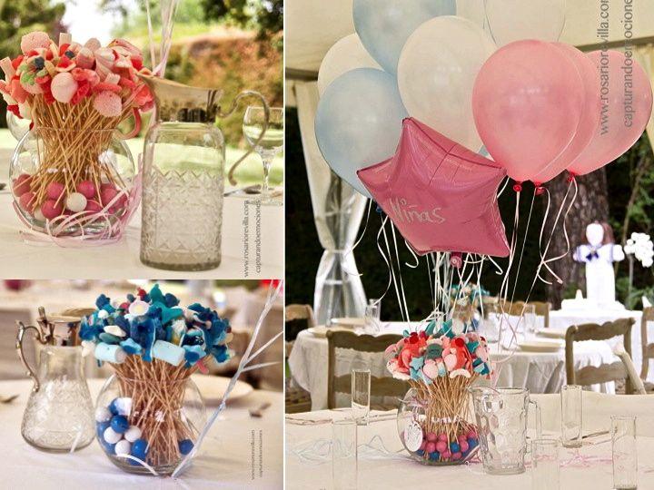 Centros de golosinas y mesas dulces para bautizo y for Mesa de dulces para bautizo de nina
