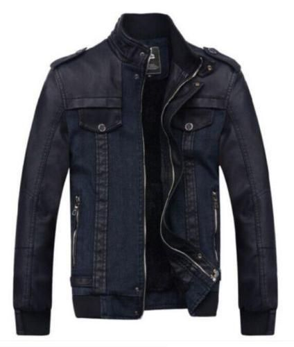 44d0ab9d40a Punk Gothic Men s Jacket Fashion Thicken Zip Denim PU Leather Coats Zip  Trench