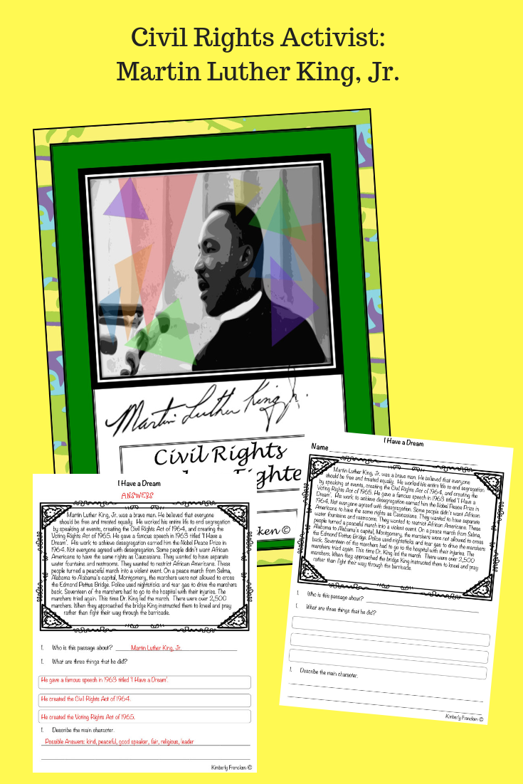 MLK: Nonfiction passages with reading skills practice ...