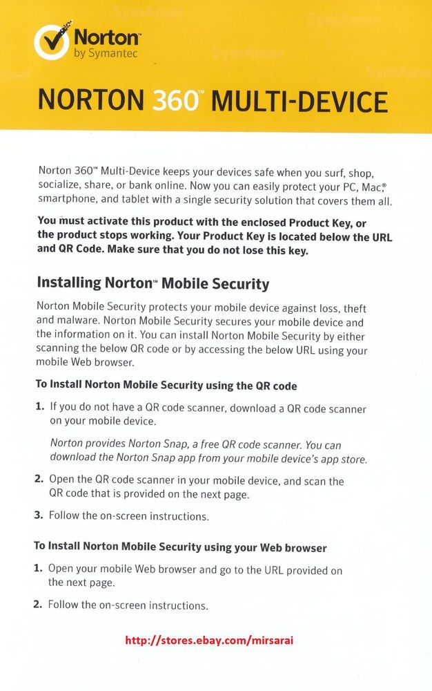 Norton 360 Multi-Device Product Key Card 5 Devices 1 Year Free