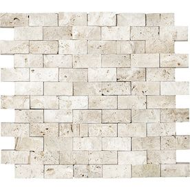 Ivory Travertine Split Face Natural Stone Mosaic Subway Wall Tile Common 12 In