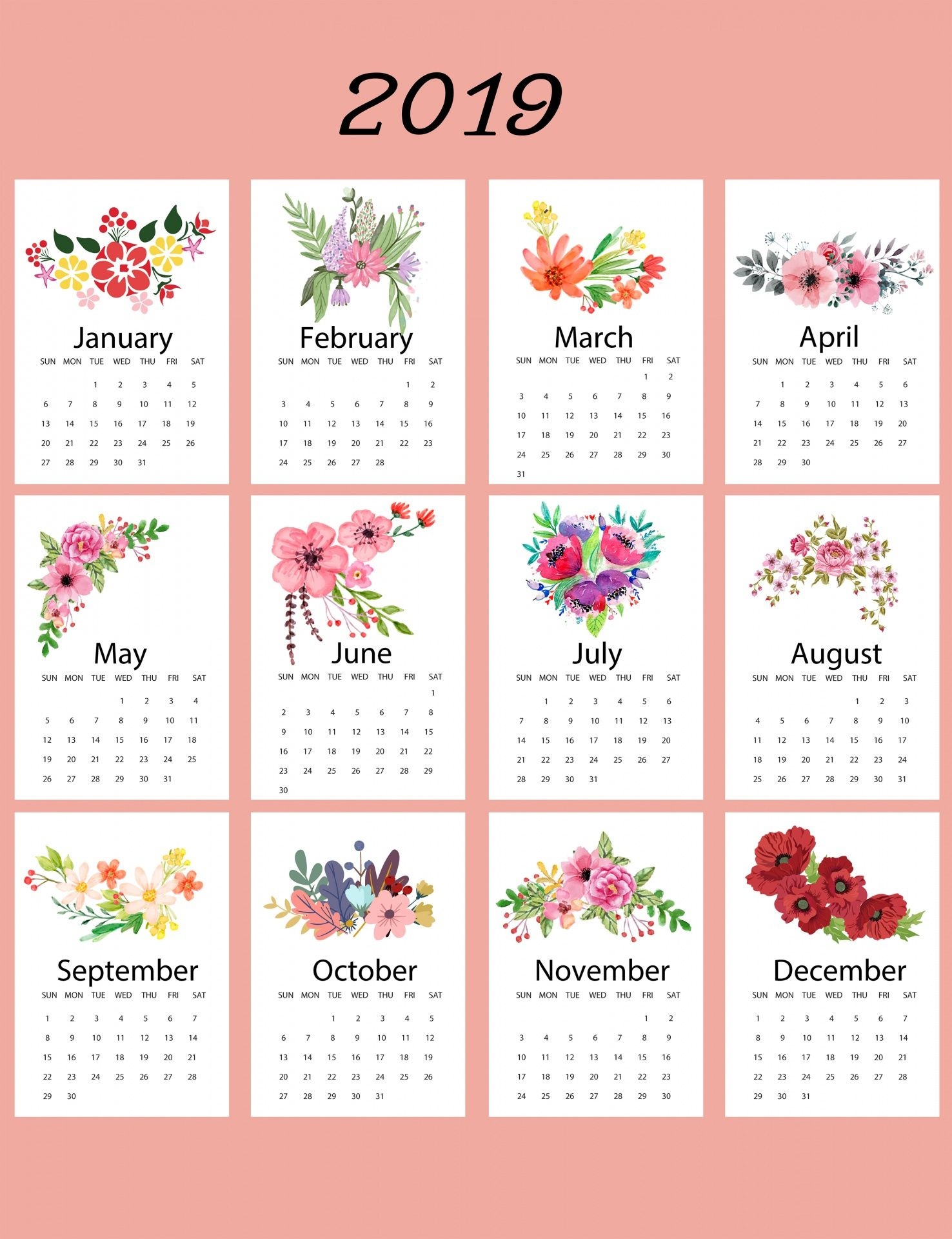 2019 Calendar Floral Template Free Stock Photo Calendarios