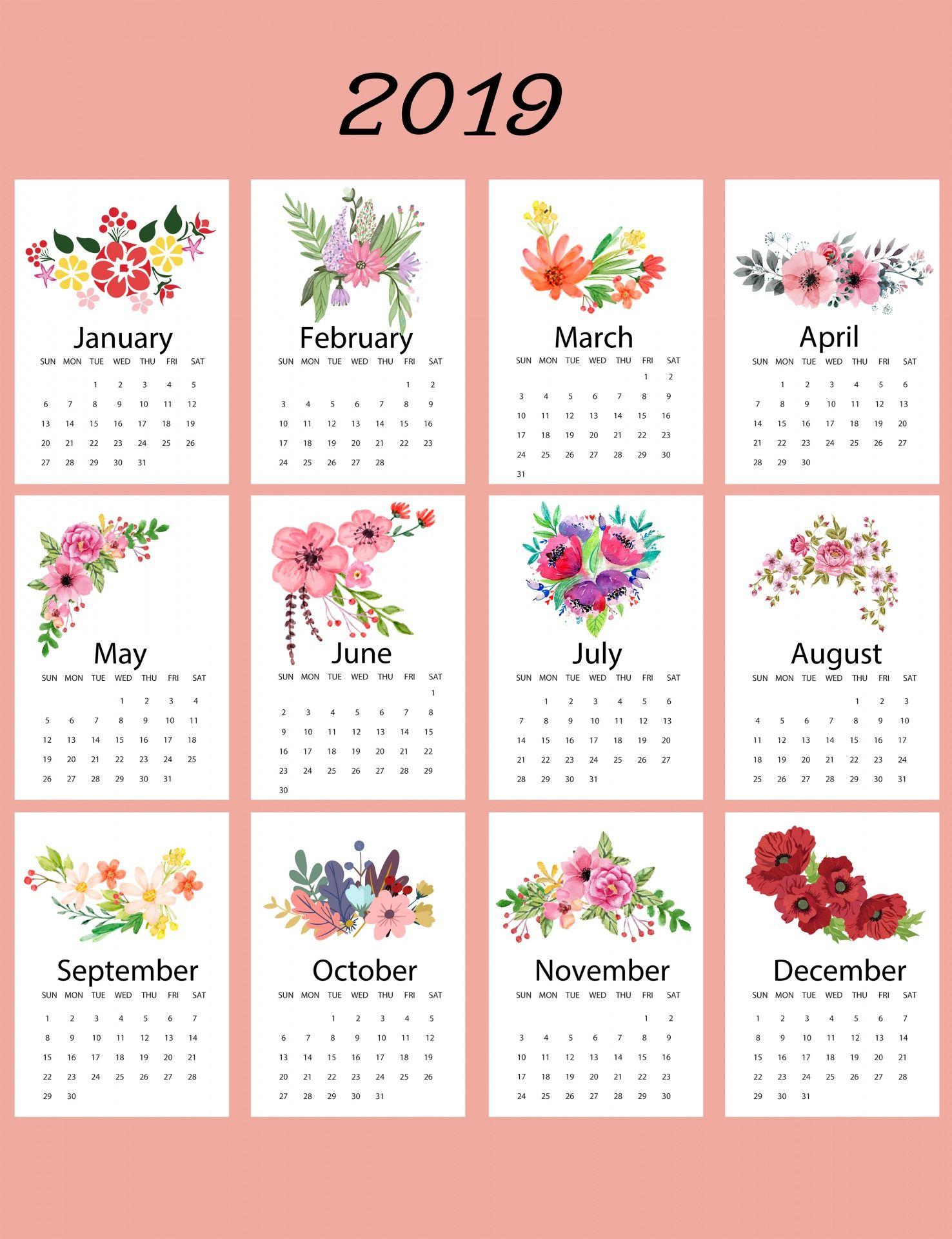 2019 Calendar Floral Template Free Stock Photo Calendarios