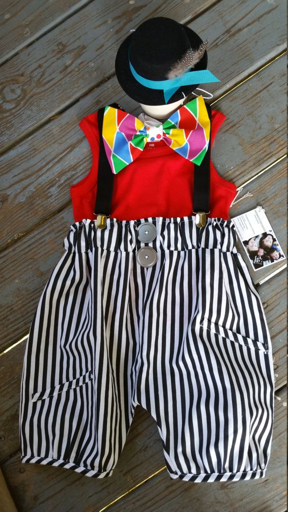 Boys Circus Outfit, Baby Clown Costume, 4 piece, Boys 1st Birthday ...