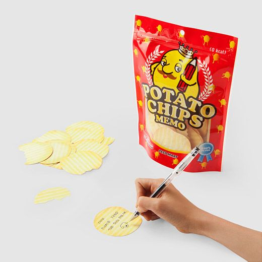 Potato Chip Memo Notes by Peco Mart: Each bag contains 88 chip notes which smell like the real thing. 0 calories! #Memo_Notes #Paper #Potato_Chip #Spring_Stationery