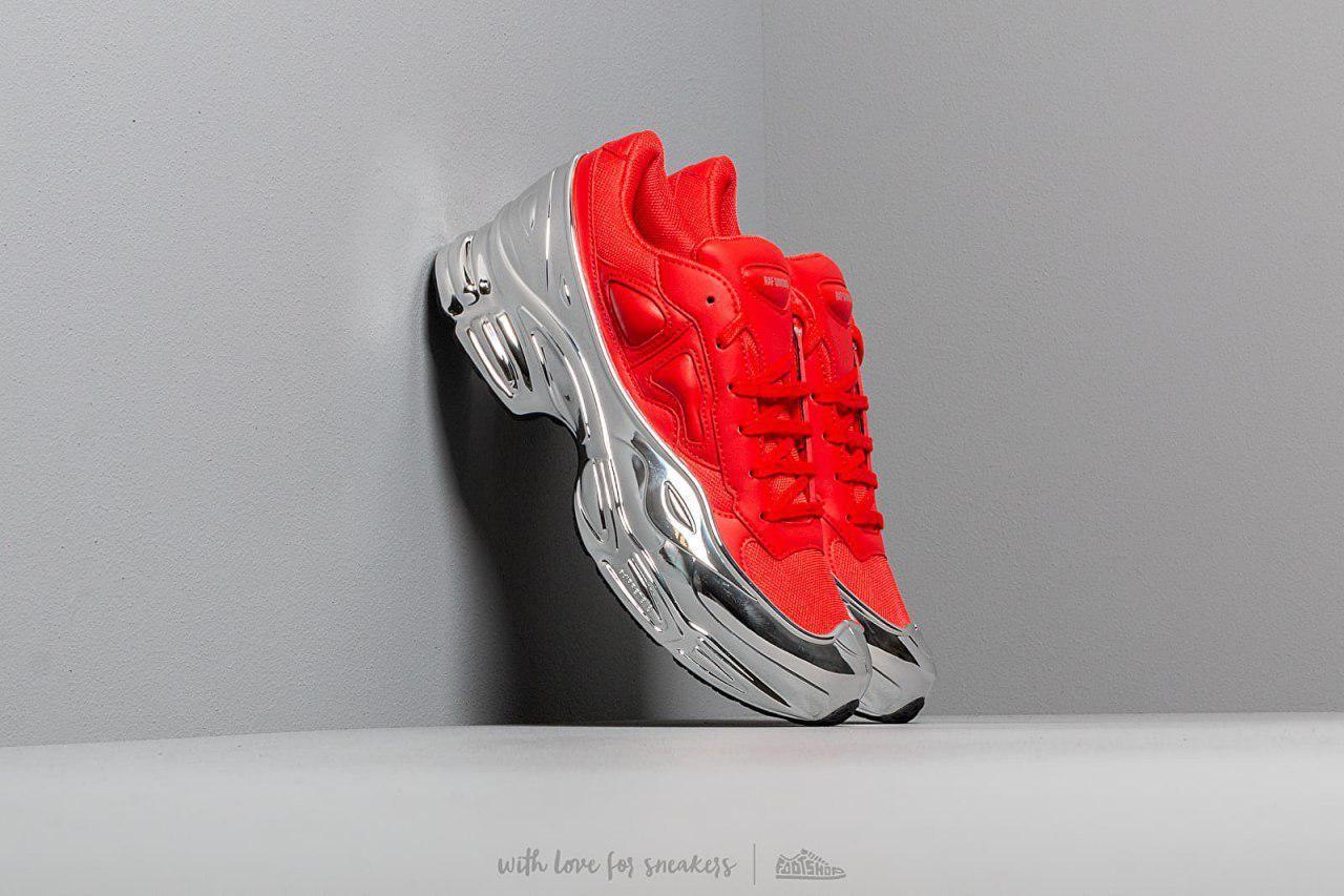 Adidas x Raf Simons Ozweego 'Red and Silver Metallic