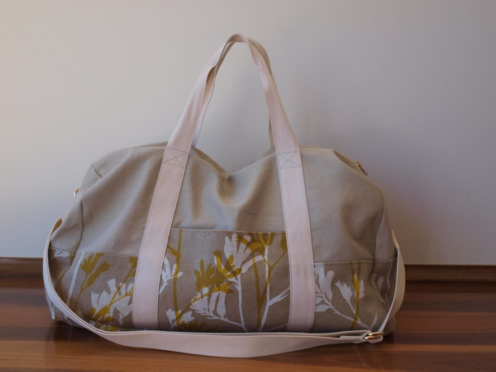 a0f6538b4dbb Portside Duffel Bag with Ink and Spindle fabric by Poppykettle