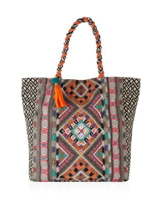 numerous in variety online here enjoy discount price It's big, bright and bohemian - the Orange Embroidered Tote ...