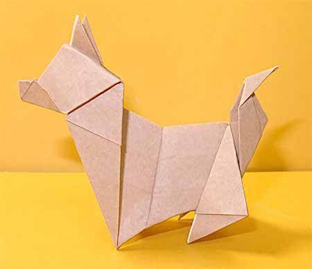 折り紙で犬 戌の折り方 1枚で簡単立体的な日本犬の作り方 セツの折り紙処 折り紙 犬 折り紙 動物のおりがみ