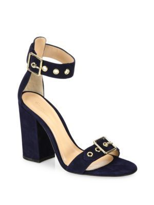 e92d116abd GIANVITO ROSSI Hayes Buckle Suede Ankle-Strap Block-Heel Sandals. # gianvitorossi #shoes #sandals