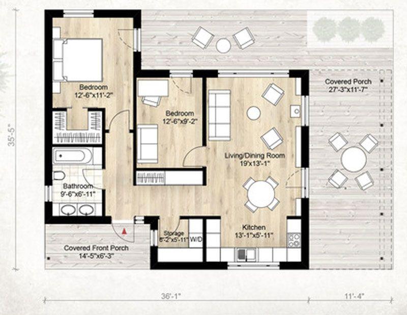 Plano de casa moderno y minimalista de 80m2 con 2 for Casa minimalista 2 dormitorios