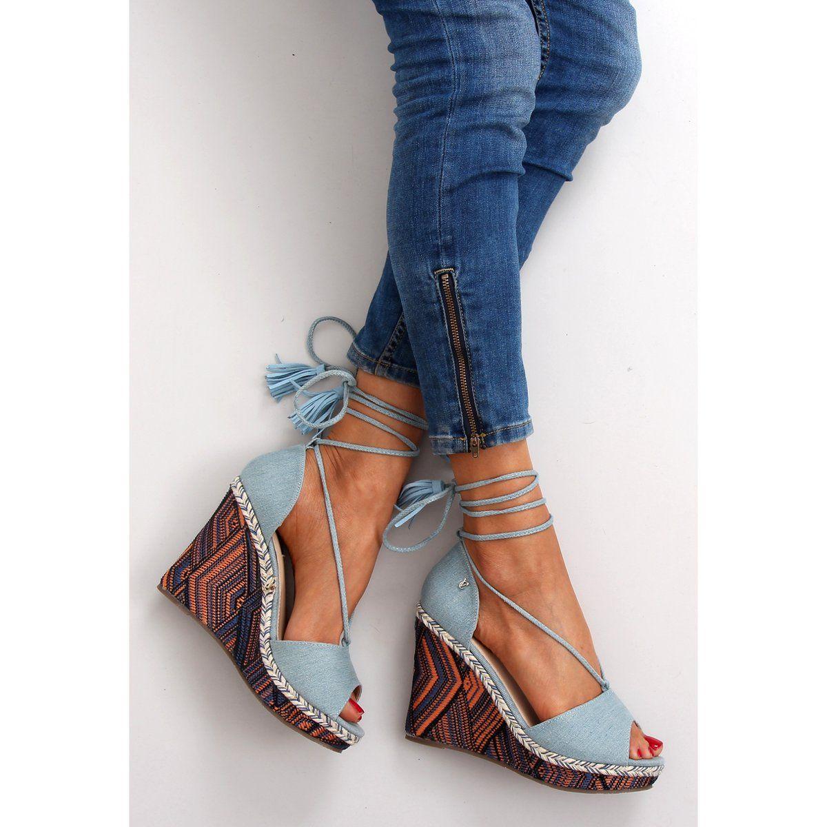 Sandaly Koturny Wiazane Na Kostke 2075 L Niebieskie Lace Up Flat Lace Up Shoes