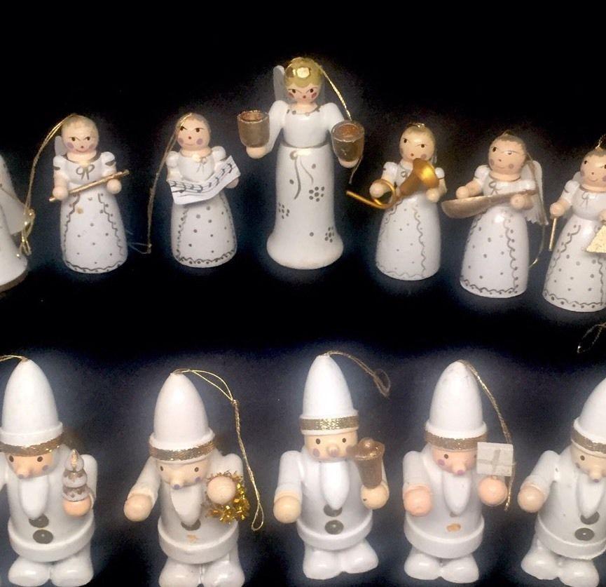 Assorted German Wooden Angels Bells Christmas Ornaments Vintage Ebay