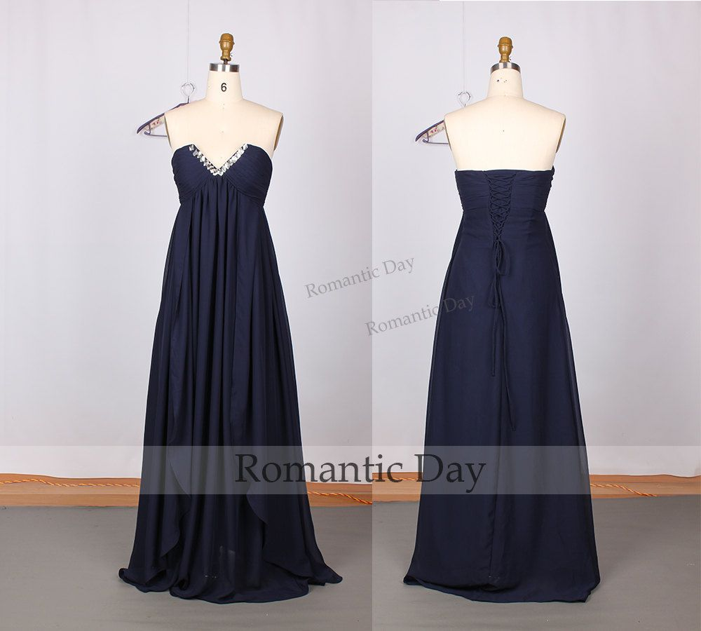 Custom order -Navy Deep v-neck lace up A-Line Chiffon Long Prom Dresses/Prom Party Dresses/Sexy Summer Dress 0041