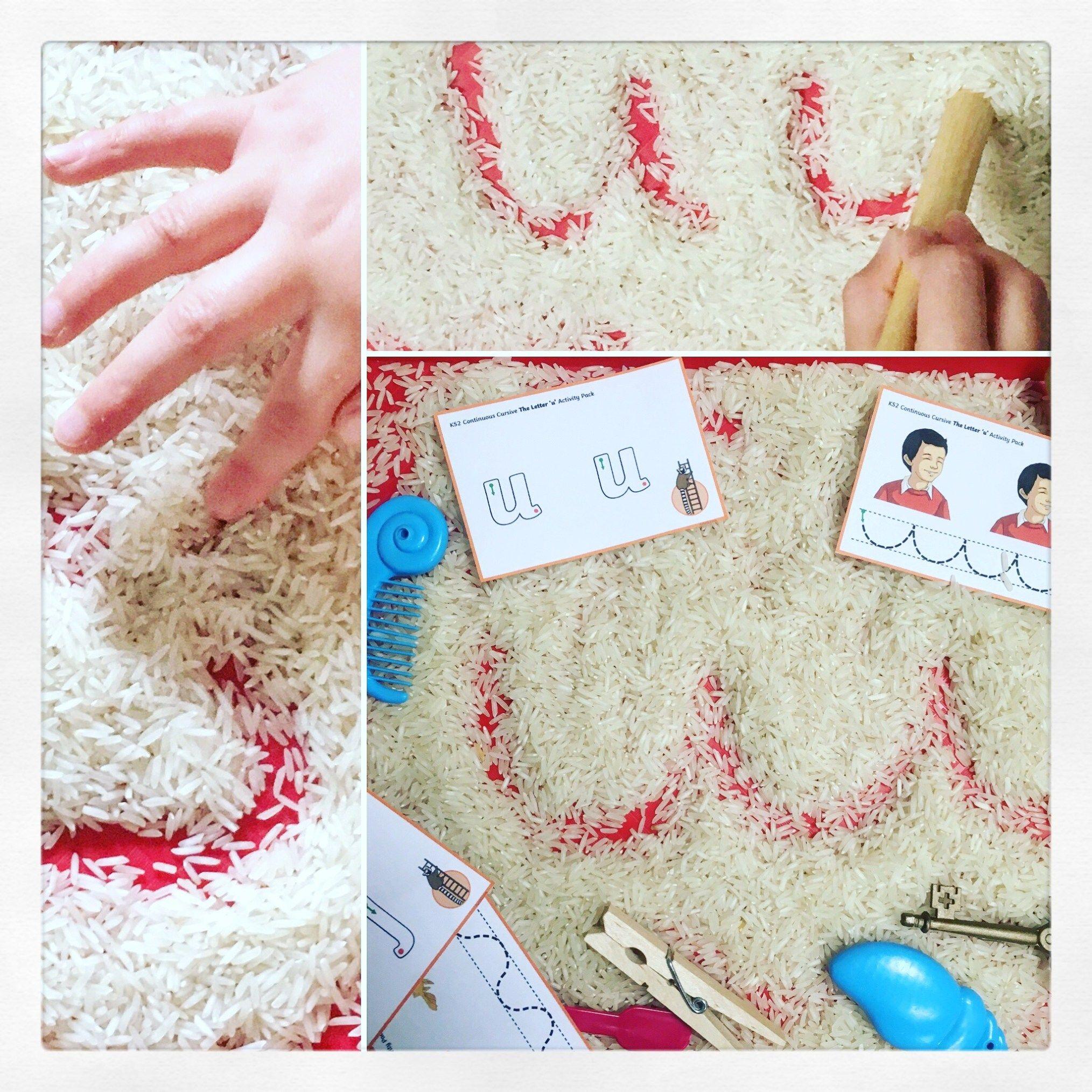 Rice Sand Tray Amp Twinkl Handwriting Diy Sand Tray Fun