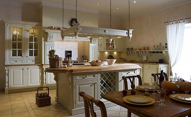 Englische Landhausküche Notingham mit Insel in Creme (OSTER Küchen - landhauskche mit kochinsel