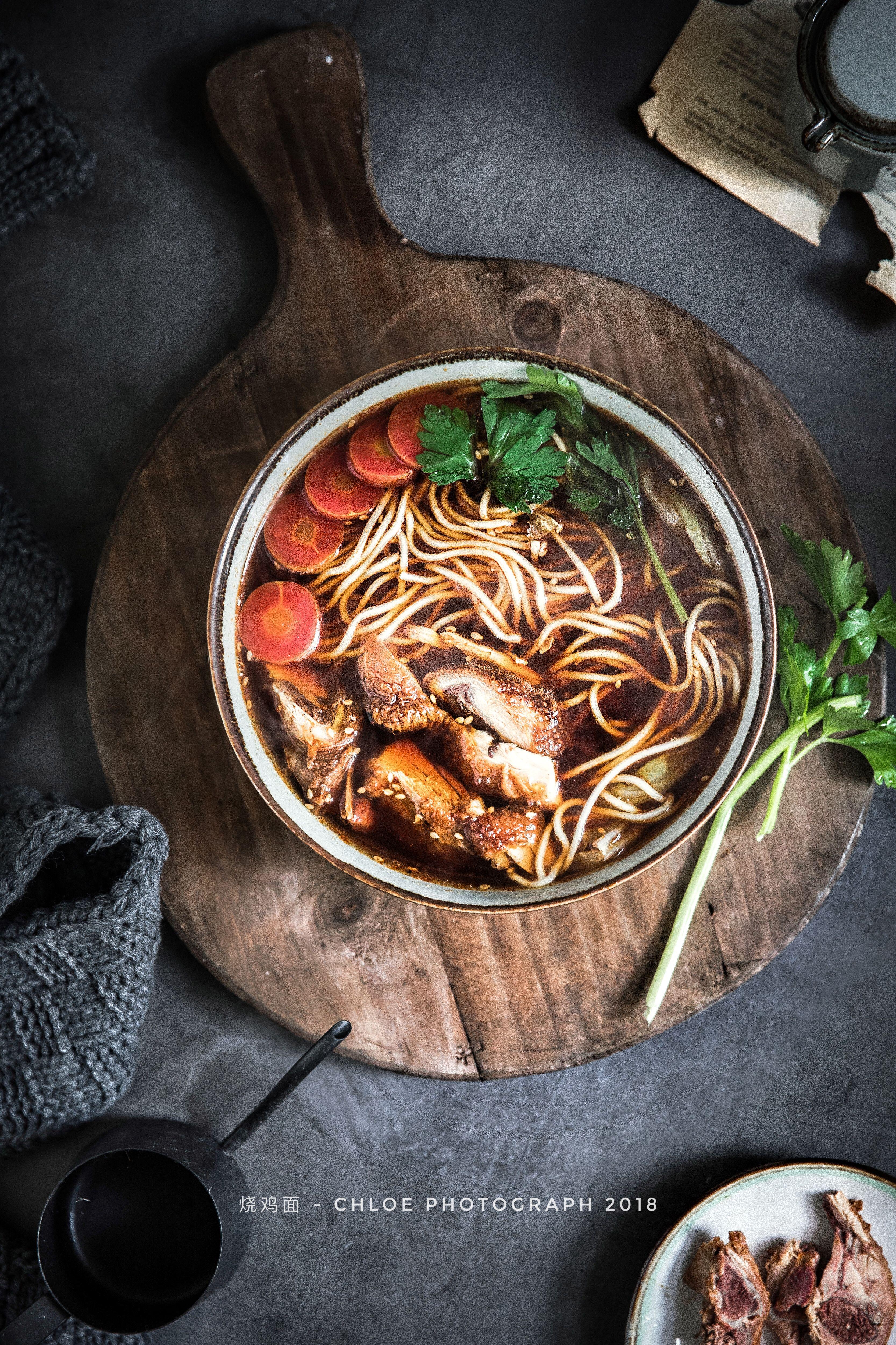 烧鸡面 Chicken Noodles Fotografi Makanan Makanan Mie