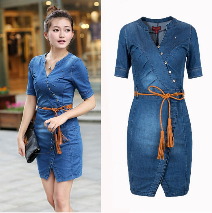 Top 2015 New Vintage Summer Style Women Denim Dress Short Sleeve V  OV54