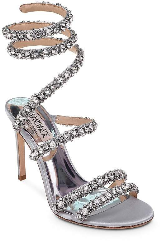 adde2f3e4bd Badgley Mischka Women s Peace Embellished Satin Ankle Wrap Silver High-Heel Sandals  Silver High Heel