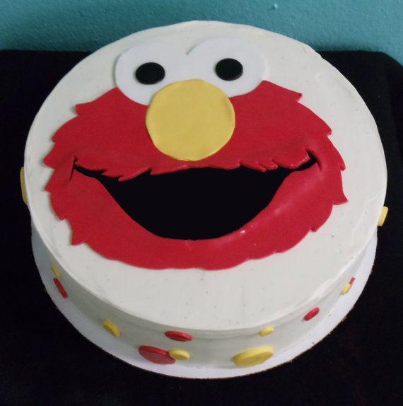 Elmo Face Cakes Edible Fondant Cake Topper Sesame Street