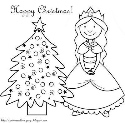 PRINCESS COLORING PAGES CHRISTMAS TREE AND PRINCESS | coloring ...