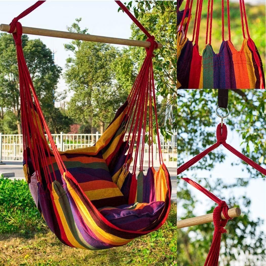 Muderek Canvas Swing Chair Hanging Rope Garden Indoor Outdoor 150kg Weight Bearing Hanging Swing Chair Hammock Swing Best Hammock With Stand