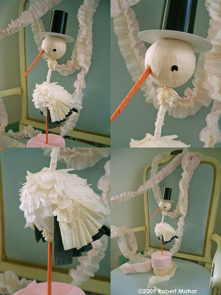 Crepe paper stork centerpiece from Mahar Craft Baby