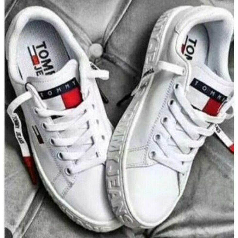 sale retailer ca08f 801b8 Weiß Tommy Hilfiger Herren Damen Sneaker Schuhe Sportschuhe ...