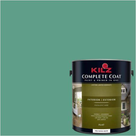 Kilz Complete Coat Interior/Exterior Paint & Primer in One, #RG120-02 Emerald Stream, Green