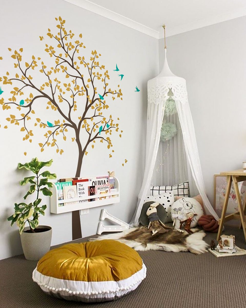 Large Tree With Birds Vinyl Wall Decal Sticker For Baby Room
