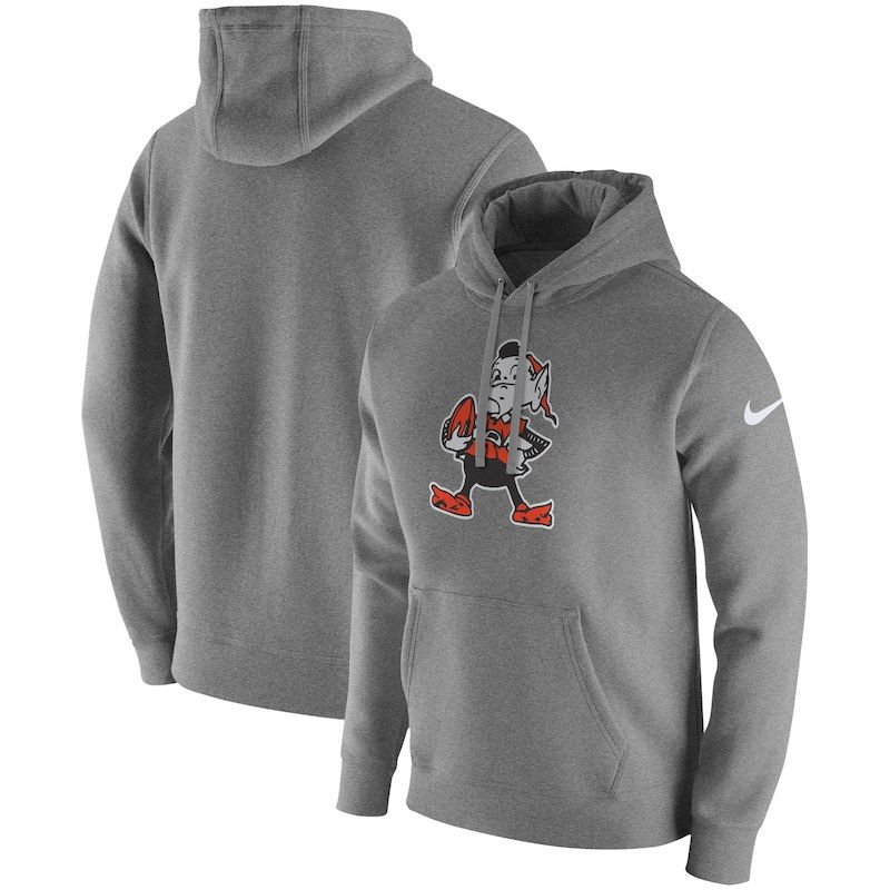 f669e20d40b7 Cleveland Browns Nike Fan Gear Club Throwback Pullover Hoodie – Heather Gray