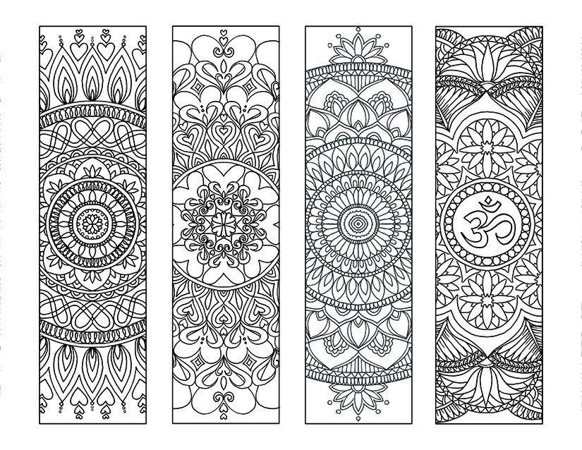 4 Mandala Colouring Bookmarks Set 2 Instant Download | Bookmarks ...