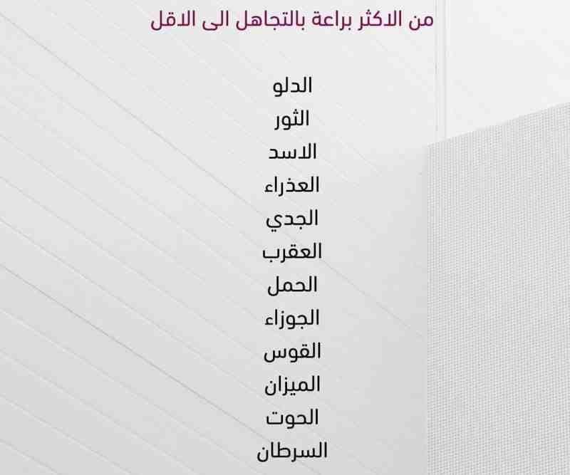 التجاهل و الأبراج برج الجوزاء برج الحمل برج الميزان برج الثور برج العقرب برج الحوت برج الأسد برج القوس برج الدلو Chart Line Chart Diagram