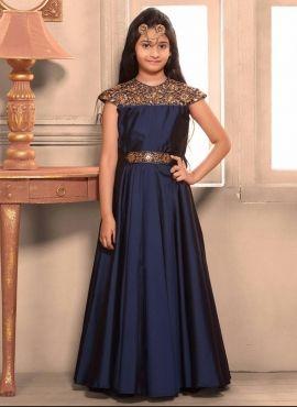 e6362a1c3ed Fancy Taffeta Silk Blue Birthday Wear Gown For Young Girl