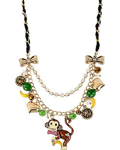 AT THE ZOO MONKEY CHARM NECKLACE MULTI