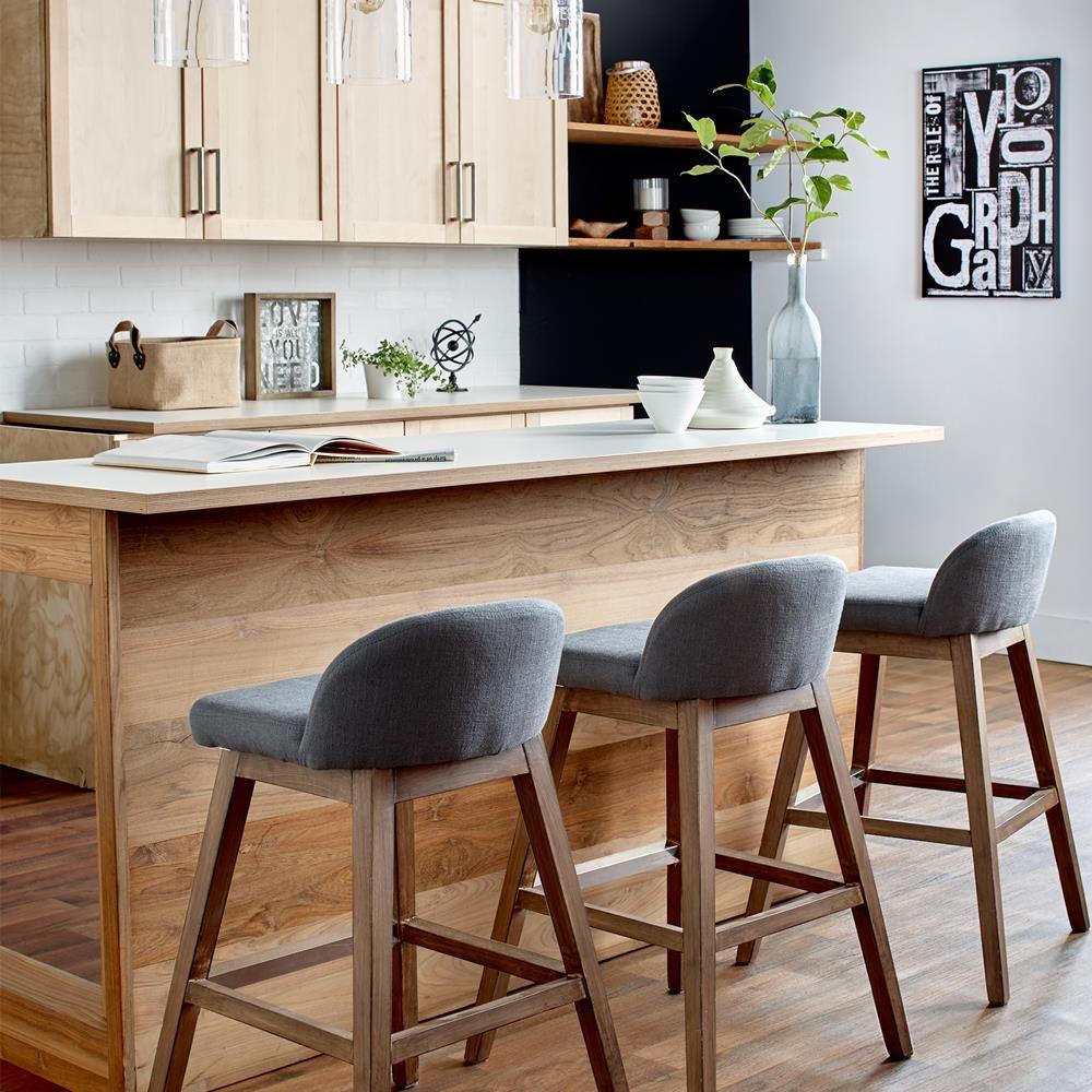 tabouret de comptoir en tissu avec pieds en bois tabourets de bar et de comptoir salle manger. Black Bedroom Furniture Sets. Home Design Ideas