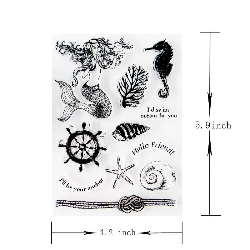 Seashell Transparent Silicone Stamp Sea Clear Stamps Conch Mermaid