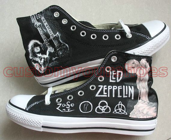 custom converse Led Zeppelin Jimmy Page handpainted can do any t