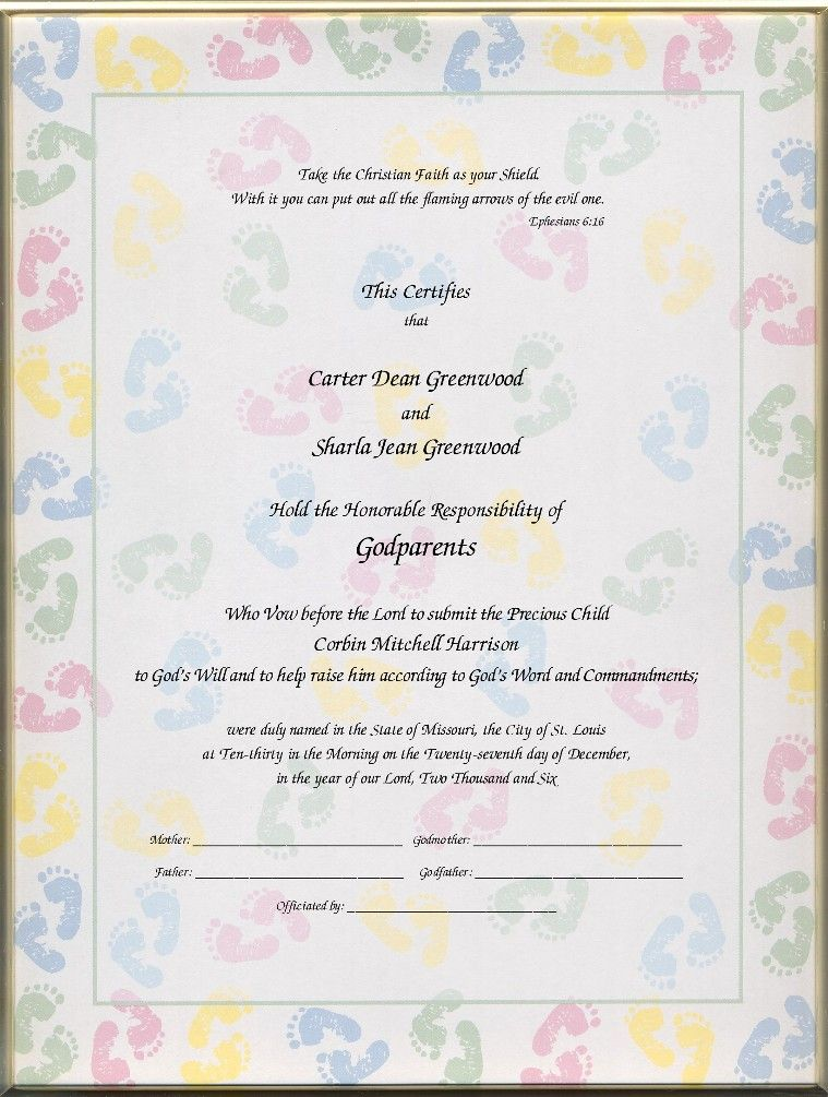 Christening Certificates For Godparents    Certificates Child