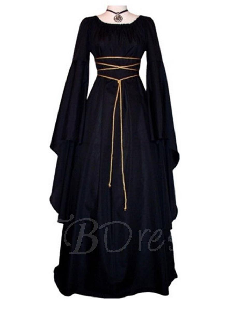 Black square neck bell sleeve womenus maxi dress puttinu on the