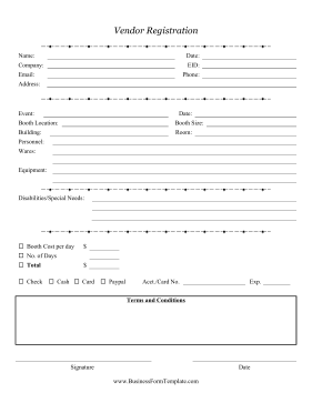 Vendors Can Register For Events Farmers Markets And Parties With This Printable Registration Form Registration Form Wedding Planner Business Event Marketing