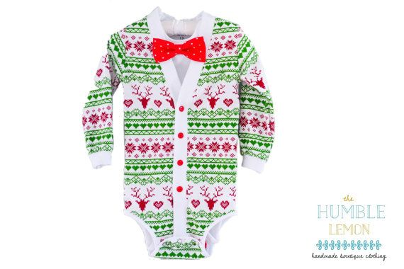 c456c6323a92 Christmas Holiday Baby Preppy Cardigan Bow Tie Set  Red Reindeer ...