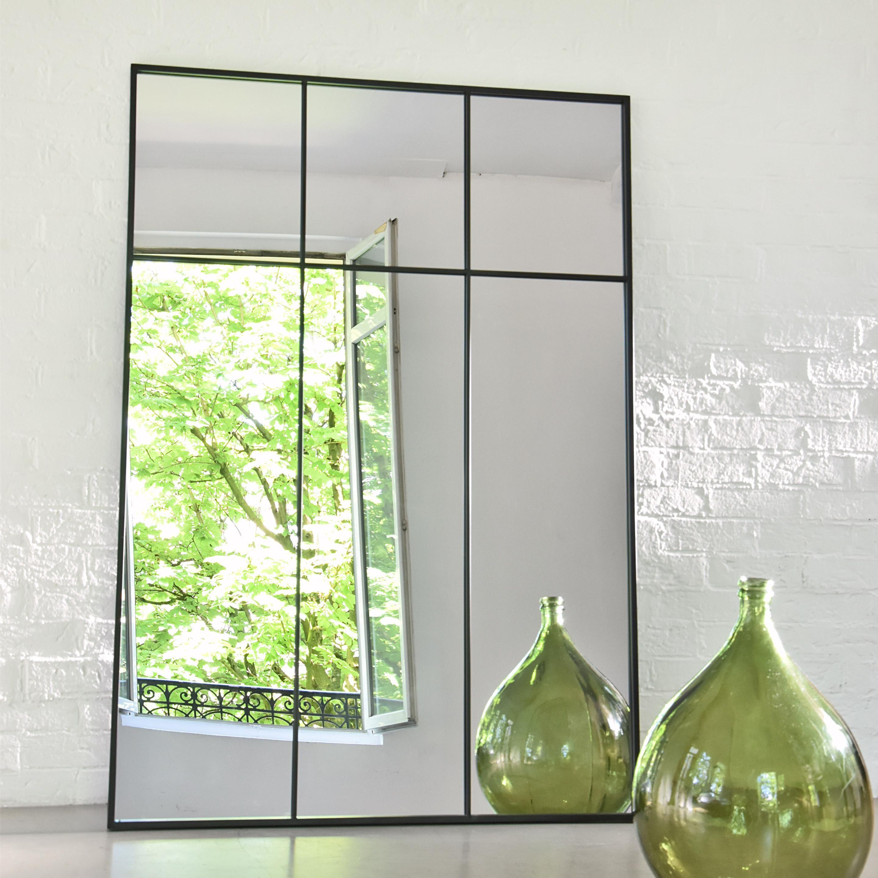 Miroir Rectangulaire Atelier Verriere Xxl Noir L 105 X H 150 Cm Miroir Atelier Decorer Un Couloir Miroir Rectangulaire