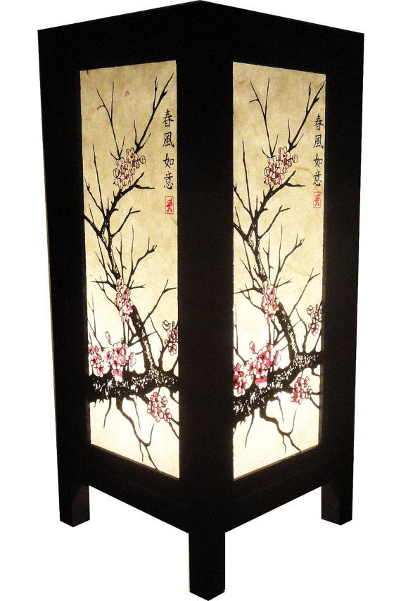 New Asian Oriental Cherry Blossom Tree Bedside Table Lamp Wood Or