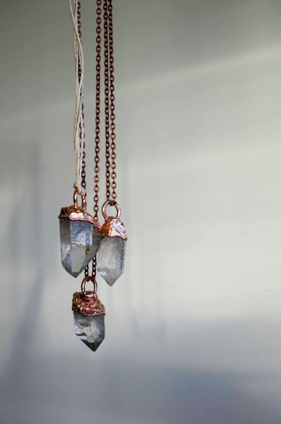 Beautiful clear quartz crystal necklace point copper beautiful clear quartz crystal necklace point copper electroformed crystal boho hippie pagan mozeypictures Image collections