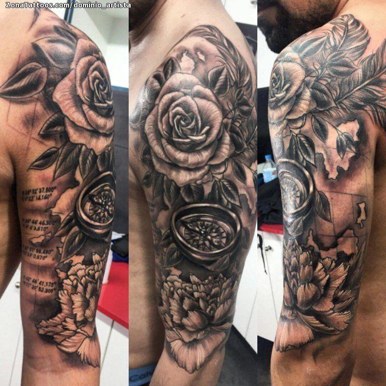 Tatuaje De Brujulas Rosas Flores Zonatattoos Com Tatuajes Brujula Tatuajes Disenos De Unas