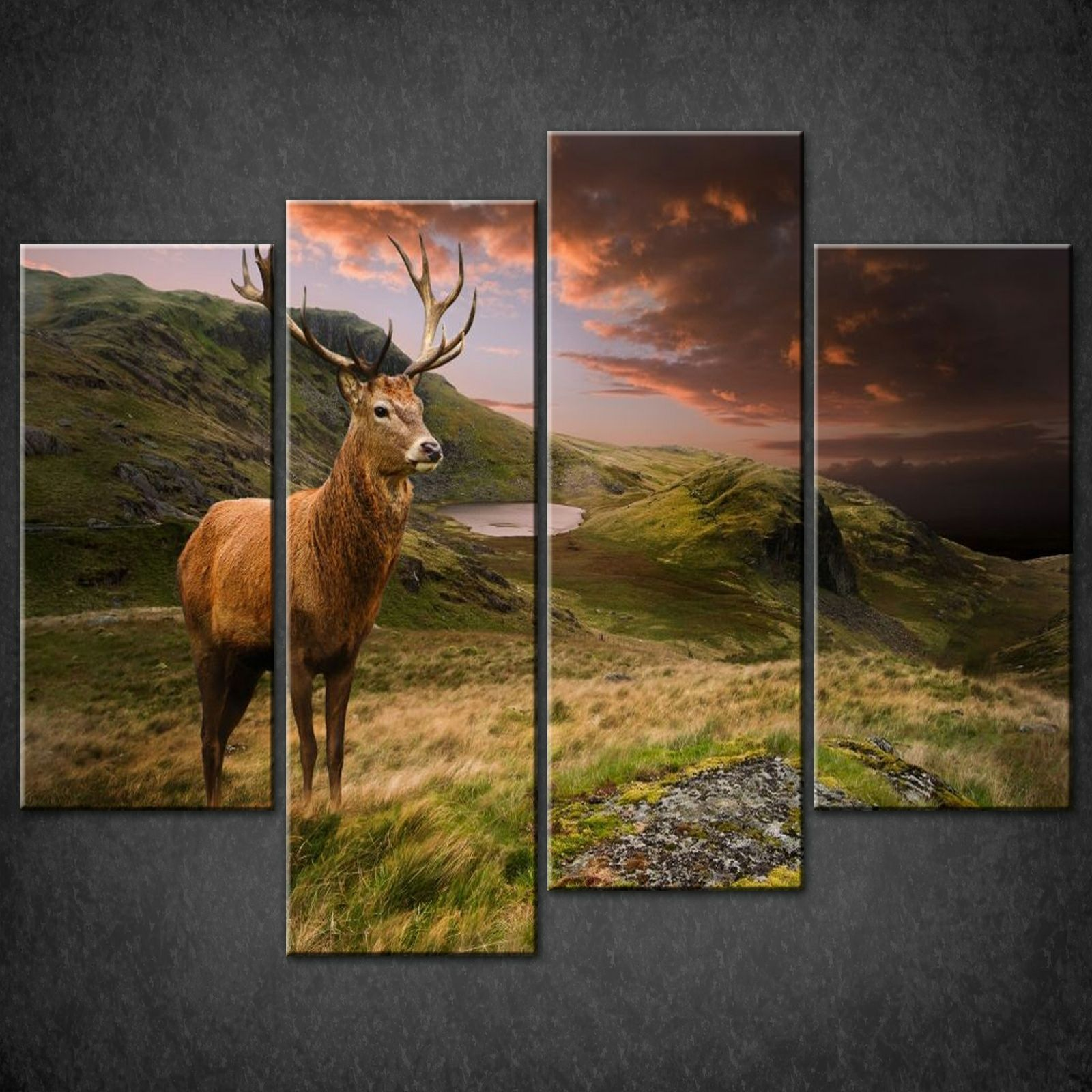 RED DEER SUNSET SPLIT CANVAS WALL ART PICTURES PRINTS LARGER SIZES AVAILABLE