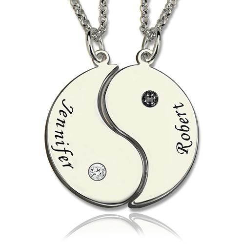 """Personalized yin yang necklaces with 'Mother' 'Daughter' charms and birthstones. These necklaces make a thoughtful, personalized gift that symbolizes the close relationship between a mother and daughter. These necklaces include 'yin yang' charms and Birthstones, and are on a 14"""", 16"""", or 18"""" chain. DELIVERY & SHIPPING Delivery Time= Processing Time + Shipping Time For every piece in our collection, the estimated processing time is listed on the product page. Add the processing time to the sh"""