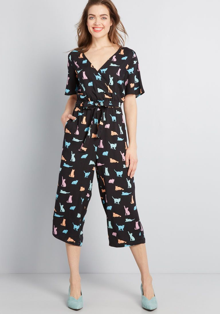 Never Enough Cats Cropped Jumpsuit In 14 Uk Cropped Jumpsuit Form Fitting Clothes Jumpsuit