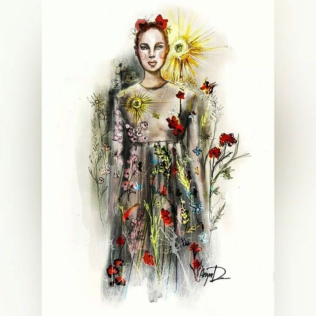 May there always be Sun, Flowers & Love in Your hearts! Inspired by @maisonvalentino  Pre-Fall 2015 collection. #anadeestyle #fashionillustration #valentino #prefall2015